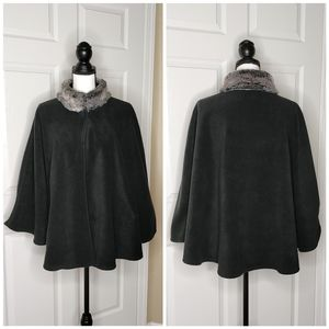 East 5th stand up faux fur collar fleece poncho